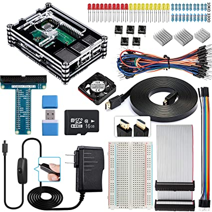 Smraza Raspberry Pi 3 B+ Case with Fan, Raspberry Pi 3B Case Starter Kit  with 16GB SD Card, 2 5A Power Supply Components for Raspberry Pi 3 Model  B+,