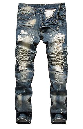 aa54f8b2 NITAGUT Men's Ripped Slim Straight fit Biker Jeans with Zipper Deco ...