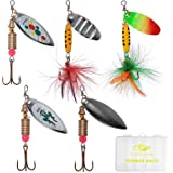 SF Fishing Lure Spinner Baits for Bass Fishing Trout Salmon Hard Metal Spinnerbaits Kit with Tackle Boxes