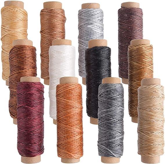 TUPARKA 12 colores de cuero hilo de hilo encerado 392 yardas 150D hilo de costura de costura para el arte de cuero bricolaje artesanía de costura: Amazon.es: Juguetes ...