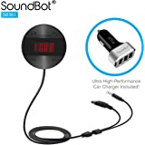 SoundBot SB361 FM RADIO Wireless Transmitter Receiver Adapter Universal Car Kit Music Streaming & Hands-Free Talking Dongle 3 Port USB Car Charger Bundle + Magnetic Mount
