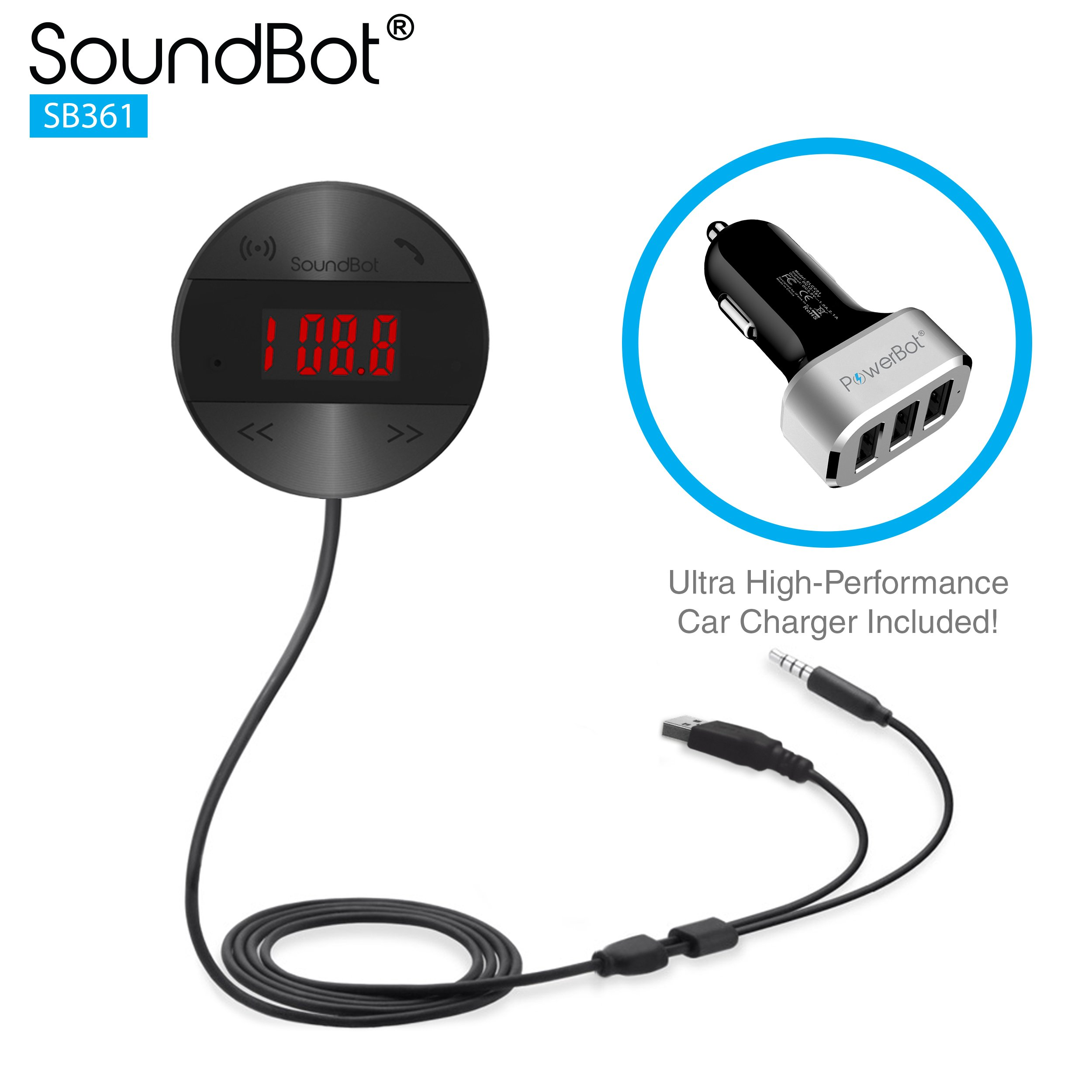 SoundBot SB361 FM RADIO Wireless Transmitter Receiver Adapter Universal Car Kit Music Streaming & Hands-Free Talking Dongle 3 Port USB Car Charger Bundle + Magnetic Mount