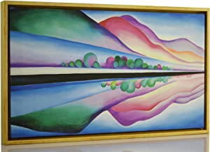 Berkin Arts Framed Georgia O'Keeffe Giclee Canvas Print Paintings Poster Reproduction Fine Art Home Decor (Lake George Reflection)