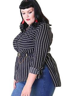 61d4e2bac9ae93 Lovedrobe GB Women s Plus Size Black and White Stripe Longline Shirt Size  16-26