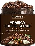 100% Natural Arabica Coffee Scrub, Best Stretch Mark, Acne & Anti Cellulite Treatment, Helps Reduce Spider Veins, Eczema, Age Spots & Varicose Veins - 12 Oz