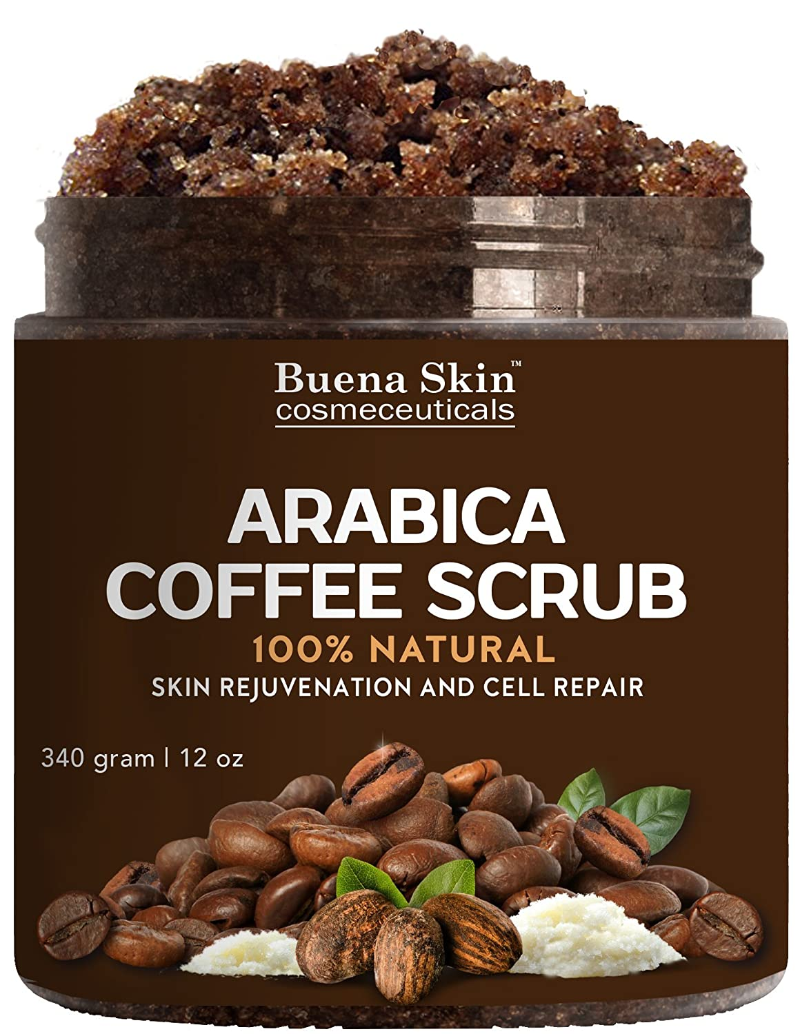 100% Natural Arabica Coffee Scrub, Best Stretch Mark, Acne & Anti Cellulite Treatment, Helps Reduce Spider Veins, Eczema, Age Spots & Varicose Veins - 12 Oz Buena Skin 1117-BS-LAS
