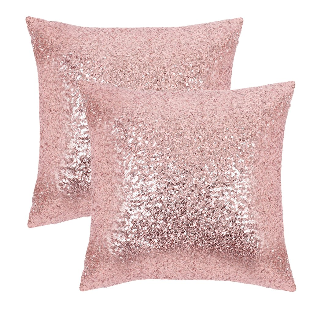 PONY DANCE Sequins Cushion Covers - Xmas/Party / Banquet Home Decor Luxurious Sequins Throw Pillow Cover Shams Glitter Pillowcases Including Hidden Zipper Design, 18'' x 18'', Pink, Set of 2