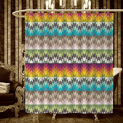 Longbuyer Geometric Shower Curtains Sets Bathroom Ethnic Tribal Pattern With African Primitive Effects In Contrast Colors