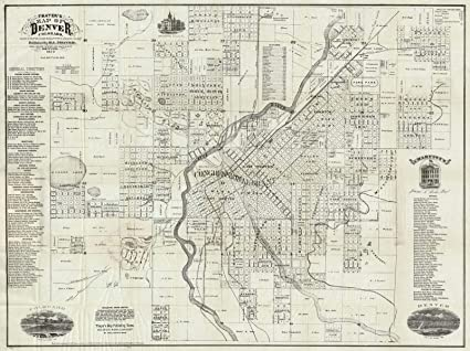 Historic Map | Thayer\'s Map of Denver Colorado, 1879, | Antique Vintage  Decor Poster Wall Art Reproduction | 24in x 18in