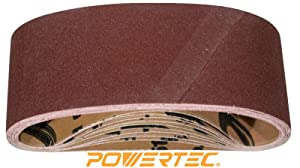 POWERTEC 110430 3 x 21 Inch Sanding Belts | 80 Grit Aluminum Oxide Sanding Belt | Premium Sandpaper for Portable Belt Sander – 10 Pack