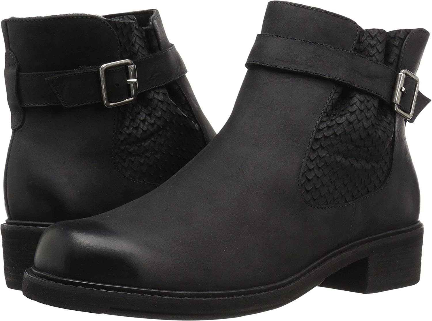 Walking Cradles Women's Devin Ankle Boot B07658XP77 4.5 B(M) US|Black Distressed Leather