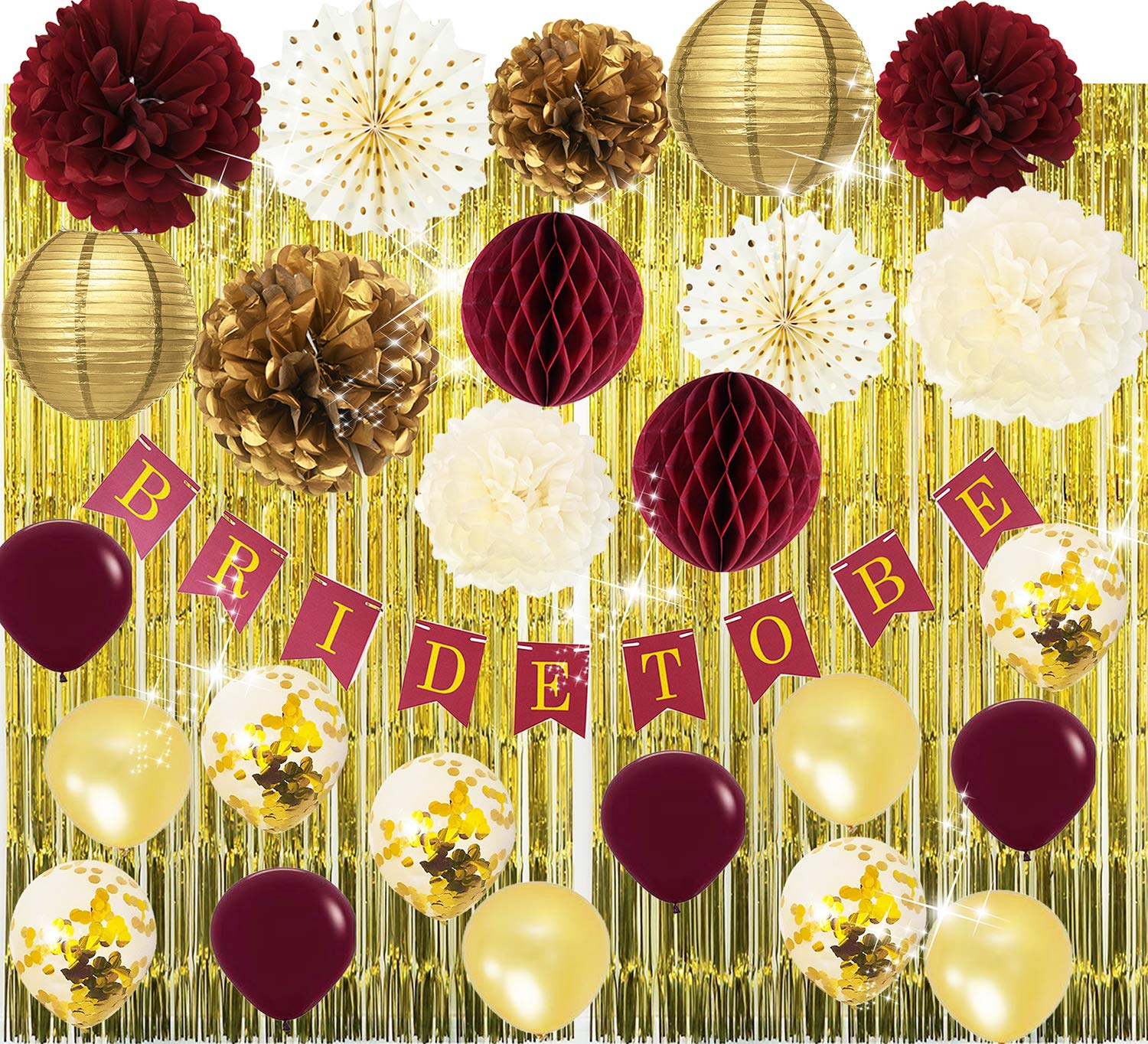 Qian's Party Bridal Shower Decorations Burgundy Gold/Fall Wedding Decor Burgundy Bachelorette Party Decorations Polka Dot Fans Bride to Be Banner Gold Foil Fringe Curtains Engagement Photo Backdrop