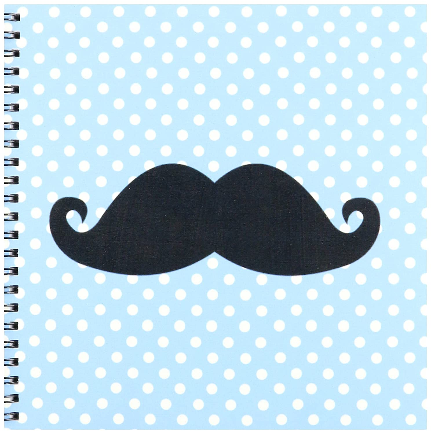 8 by 8-Inch 3dRose db/_110763/_1 Funny Black Mustache on Blue Polka Dots-Drawing Book