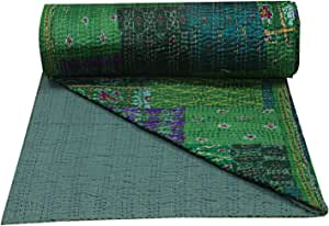 Designer Assorted Patchwork Green Silk Patola Indian Queen Kantha Quilt Indian Hippie Bohemian Bedding Bedspread Throw Blanket Indian Silk Quilts Queen Size Hippie Handmade Bedcover Reversible Ralli Gudri