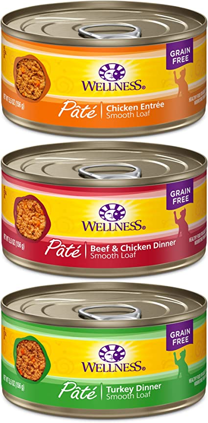 Amazon Com Wellness Natural Pet Food 8957 Complete Health Natural Canned Grain Free Wet Pate Cat Food Best Sellers Variety Pack 5 5 Ounce Can Pack Of 30 Pet Supplies