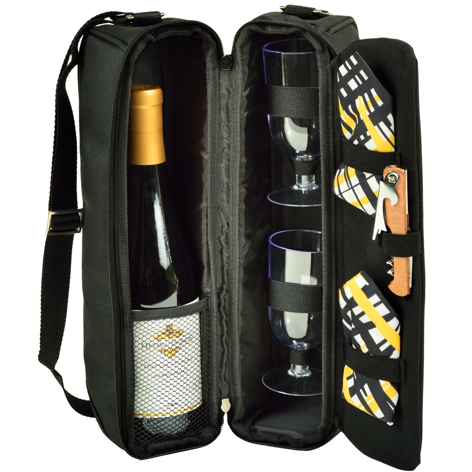 Picnic at Ascot - Deluxe Insulated Wine Tote with 2 Wine Glasses, Napkins and Corkscrew - Black 133-BLK