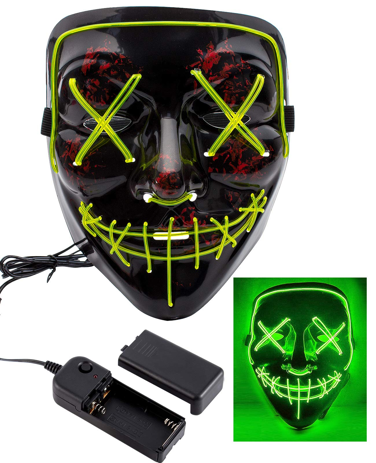 Apipi Halloween LED Light up Mask-Frightening EL Wire Cosplay Mask for Festival Parties(Green)