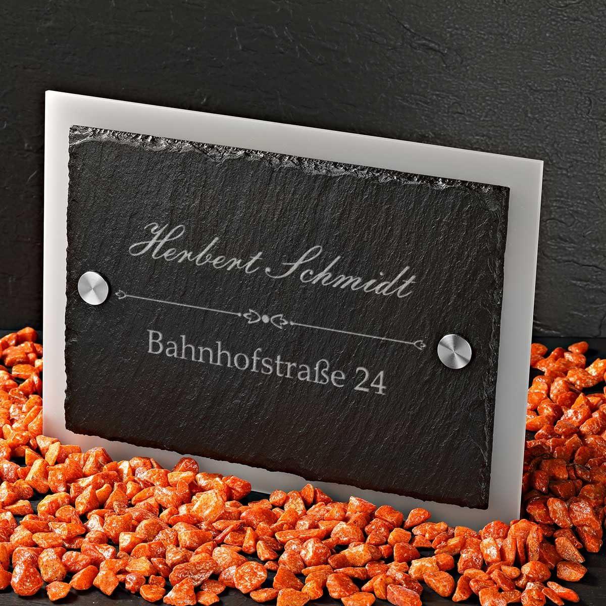 Geschenk zum Einzug Schiefertafel Acrylglas Motiv Familienname mit Stra/ße und Hausnummer T/ürschild Schieferplatte mit Gravur polar-effekt Hausnummerschild Personalisiert