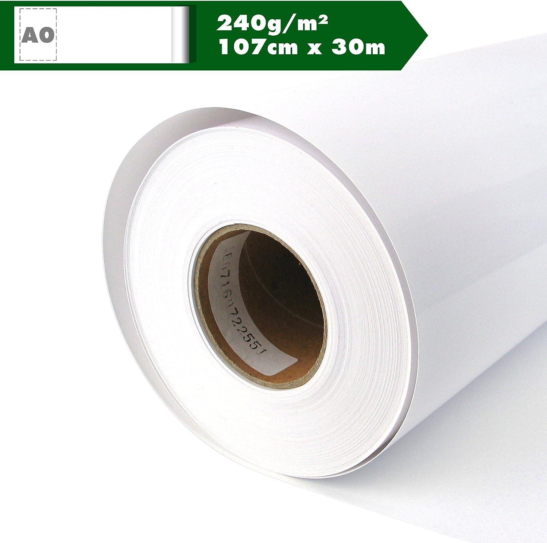 Papel fotográfico brillante de papel para plotter 240 g/m² 107 cm x 30 m A0 Glossy Inkjet Your Design rollo impermeable, adecuado para tintas de colores y pigmento: Amazon.es: Oficina y papelería