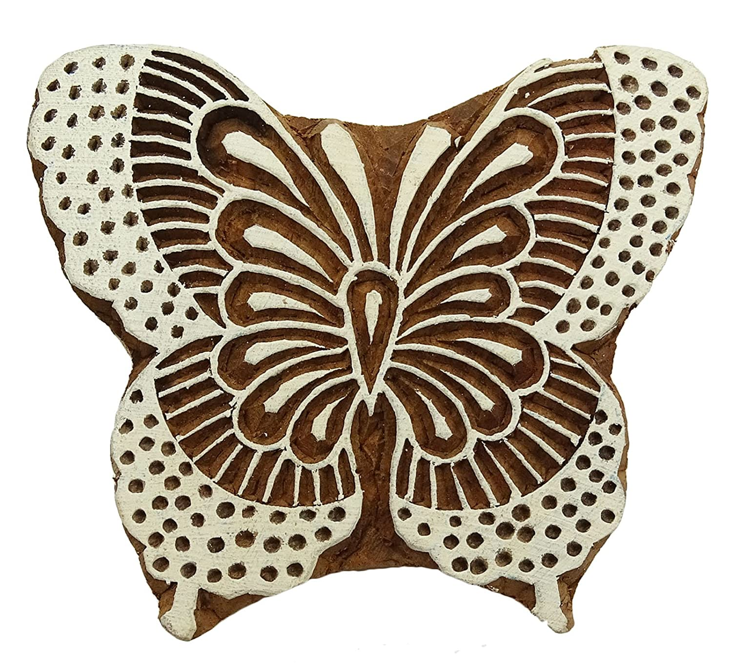 Hand Carved Butterfly Pattern Textile Wood Stamp Printing Blocks Wooden Block