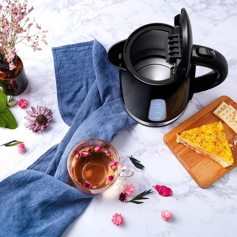 Aicok Wasserkocher BPA Frei Teekocher Schwarz Herausnehmbarer Kalkfilter 870g 1,7 Liter Elektrischer Wasserkessel mit Automatischer Abschaltung und Trockenlaufschutz 2200W Leicht