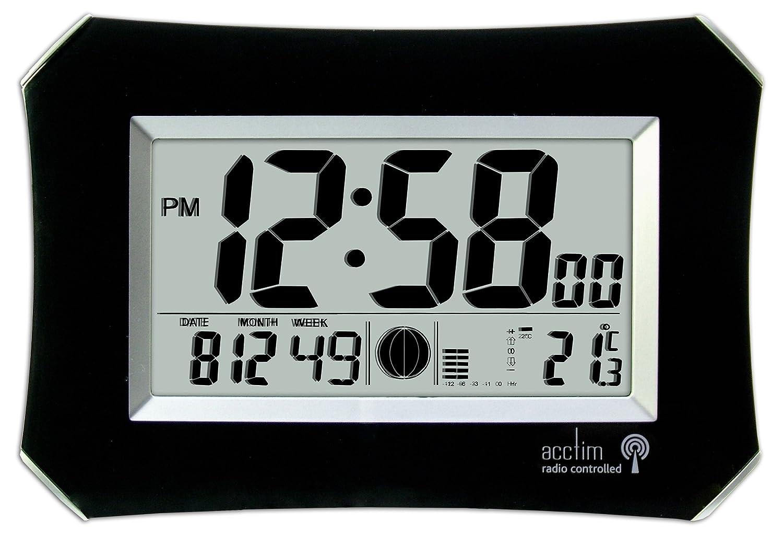 Acctim 74423 Halo Radio Controlled Wall Clock Black Amazon