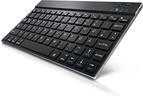 CSL Bluetooth Slim Tastatur Wireless Funk QWERTZ für PC silber edles Design