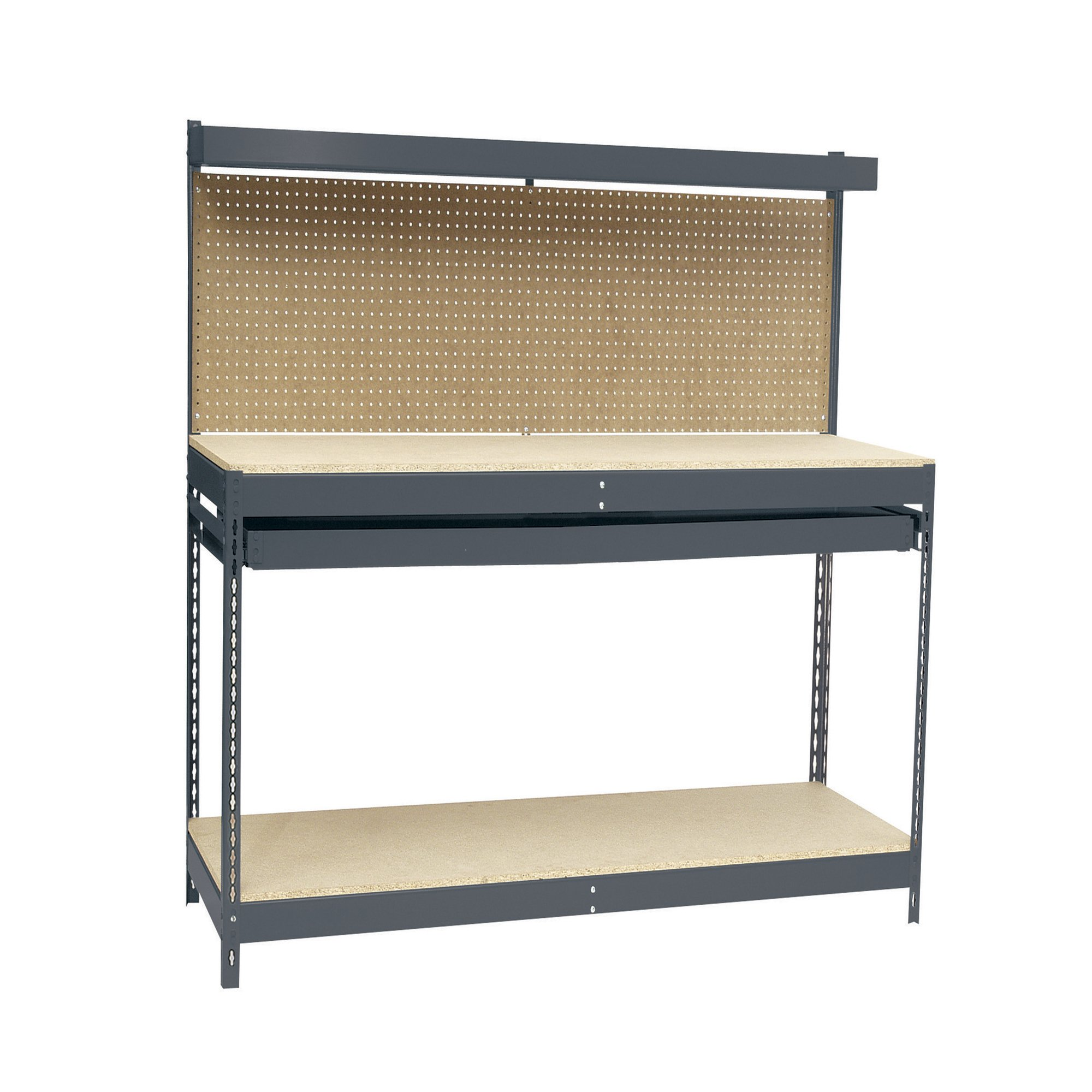 Edsal MRWB-4 Gray Heavy Duty Steel Workbench with Single Drawer, 48'' Width x 60'' Height x 24'' Depth