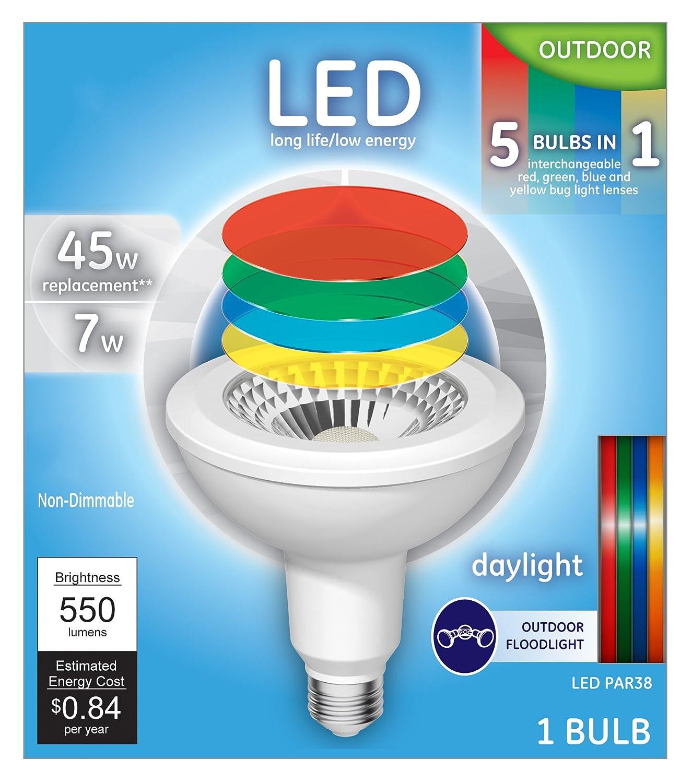 Medium Base 1-Pack 45-watt Replacement GE Lighting PAR38 LED 7-watt Daylight Multi-Color Lenses 550-Lumen PAR38 Light Bulb
