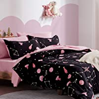 SLEEP ZONE Kids Bed-in-a-Bag Bedding Set Easy-Care Microfiber Ultra Soft Comforter and Sheet Sets with Shams 5 Pieces Galaxy, Black/Pink, Twin