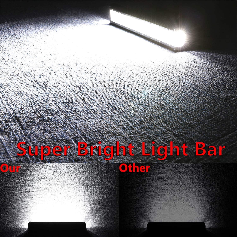 Moso LED Dually Sided Side Shooter Quad Row LED Spot Light Combo Light Bar CREE LED Fog Lights Waterproof Off Road Light LED Driving Light Work Light for Truck UTV ATVs SUV Boat 15 inch LED Light Bar