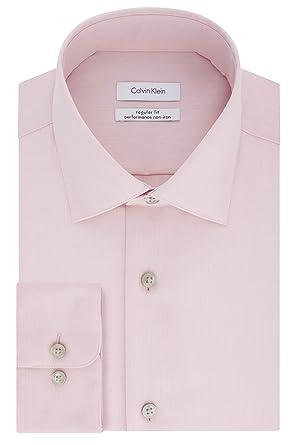 92b927ca75 Calvin Klein Men's Regular Fit Non Iron Herringbone Spread Collar Dress  Shirt, Coral Reef,