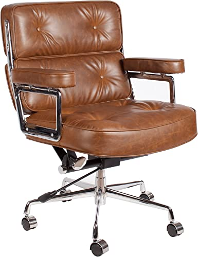 Vintage Caramel Brown Premium PU Leather Soft Pad Executive Management Office Replica Chair Swivel and Polished Aluminium Frame,