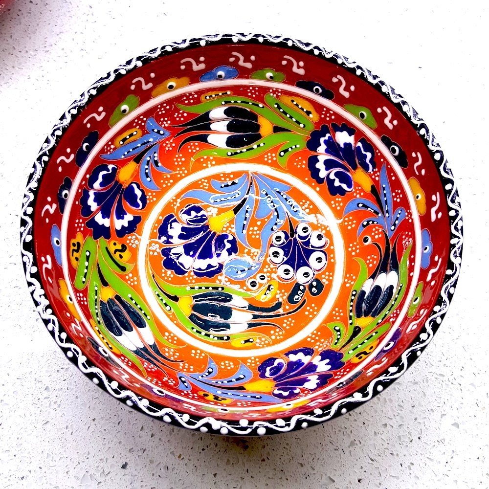 Shaving Soap Pottery Ceramic Bowl for Men and Women 5.9'' 15cm Red Handmade Hand Painted Clearance
