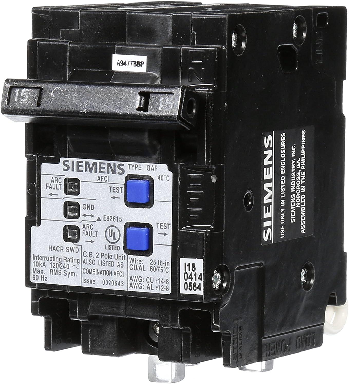 Siemens Q215AFCP 2-Pole 120-Volt combination type arc fault circuit interrupter