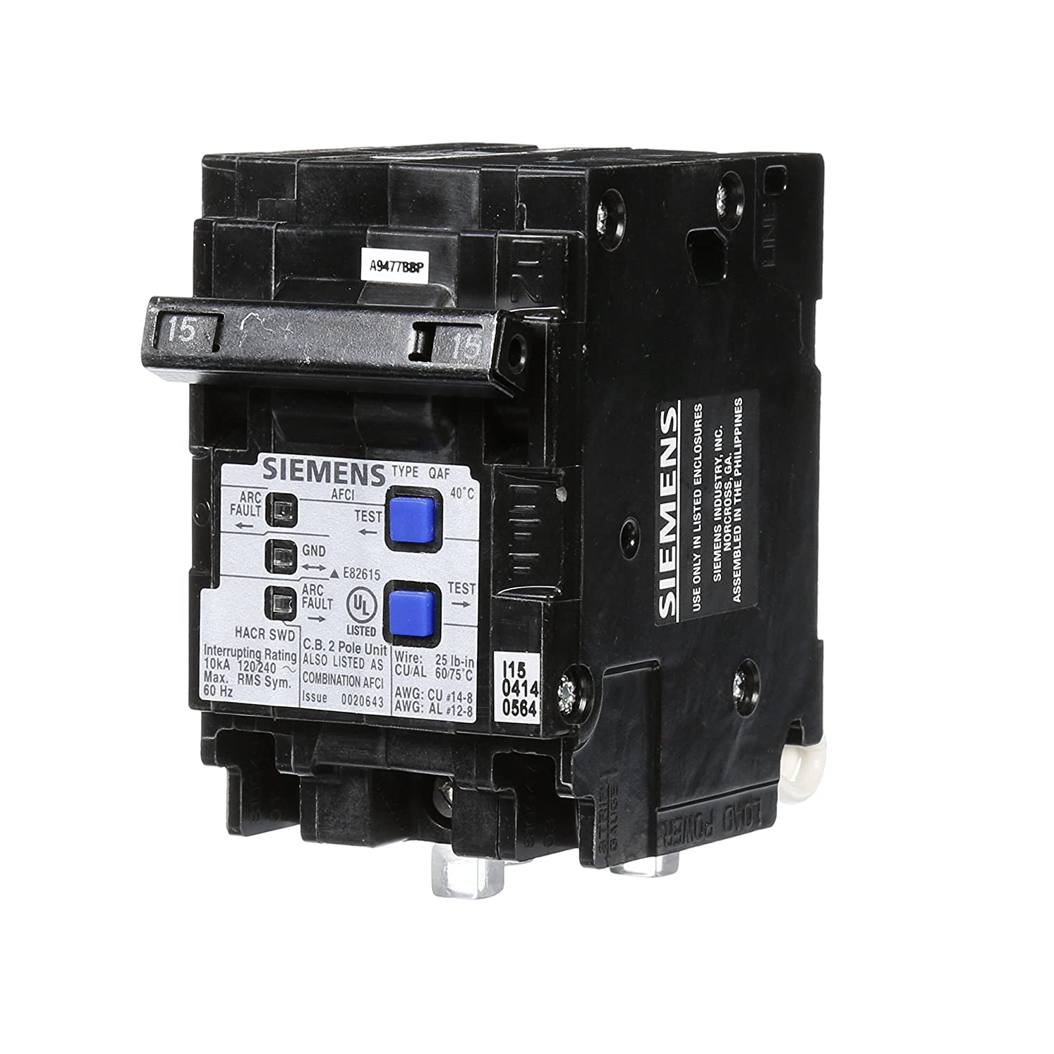 Siemens Q215AFCP 2-Pole 120-Volt combination type arc fault circuit interrupter