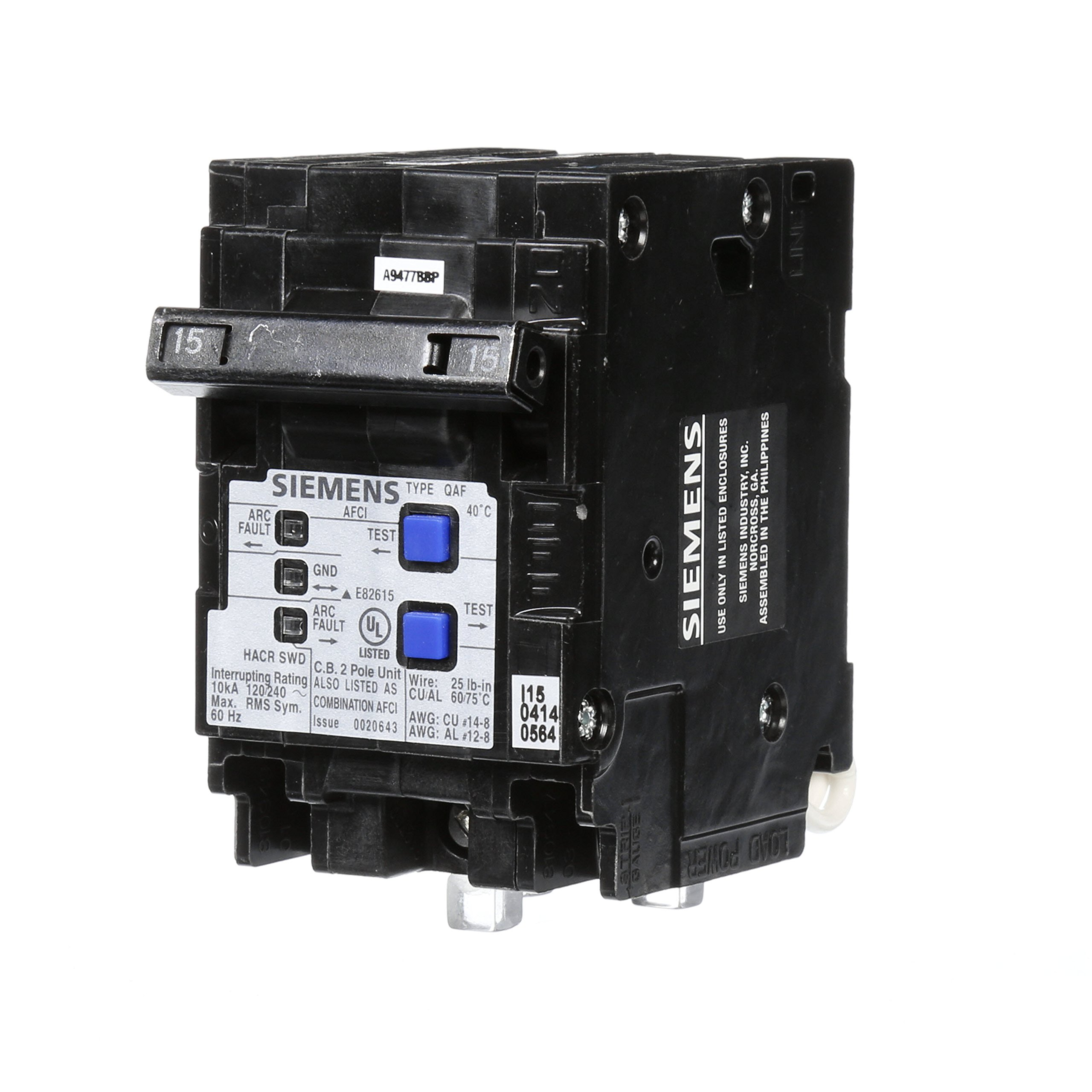 Best Rated In Arc Fault Circuit Breakers Helpful Customer Reviews Spark Fuse Breaker Box Siemens Q215afcp 15 Amp 2 Pole 120 Volt Combination Type