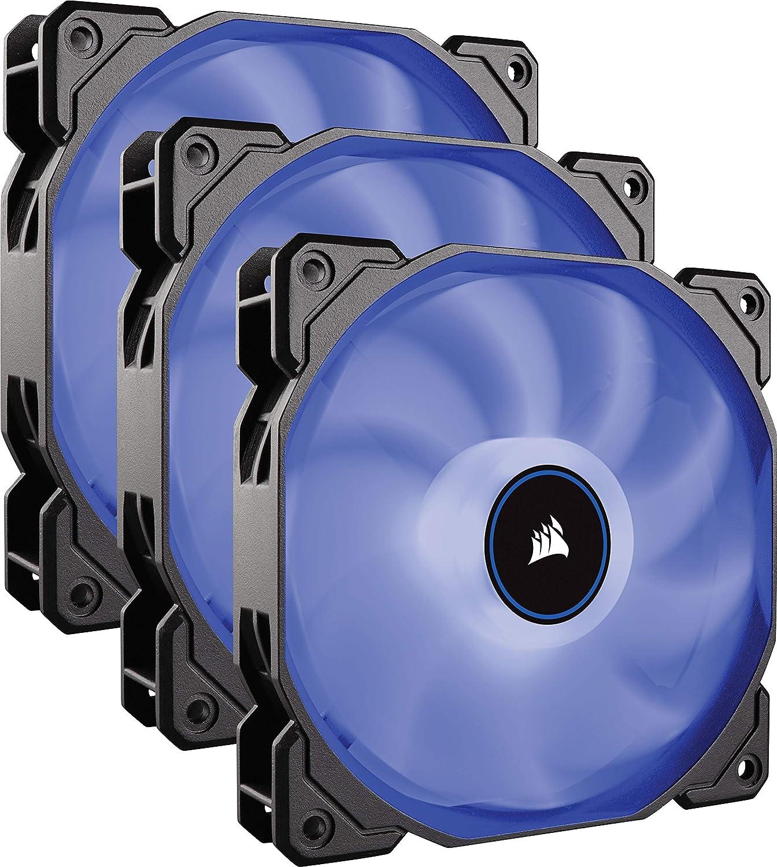 Corsair AF120, Air Series LED - Paquete de 3 Ventiladores de refrigeración silencioso de 120 mm, Color Azul