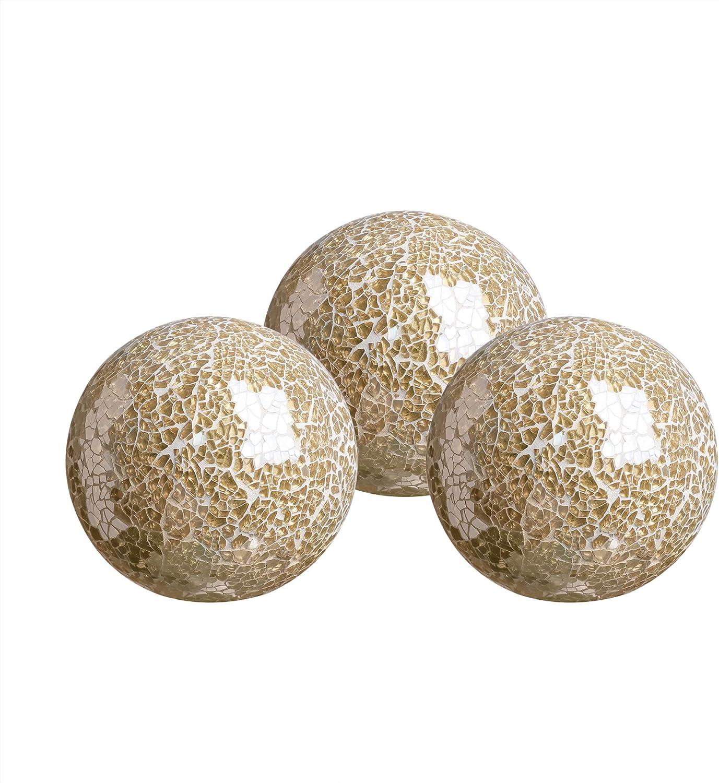 "WH Housewares Glass Decorative Balls Set of 3 Glass Mosaic Sphere Diameter 4""(Gold)"