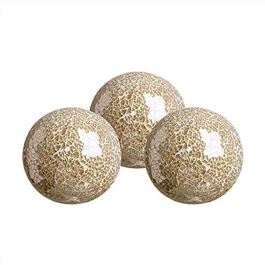 WH Housewares Glass Decorative Balls Set of 3 Glass Mosaic Sphere Diameter 4 (Gold)