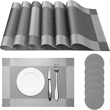 UK Set Of 6 PVC Place Mats And Coasters Dining Table Placemats Non-Slip Washable