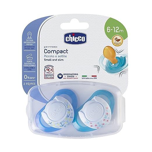 5 opinioni per Chicco 00074823210000 Compact Boy Succhietto, Caucciù, Blu, 6-12 Mesi, 2 Pezzi