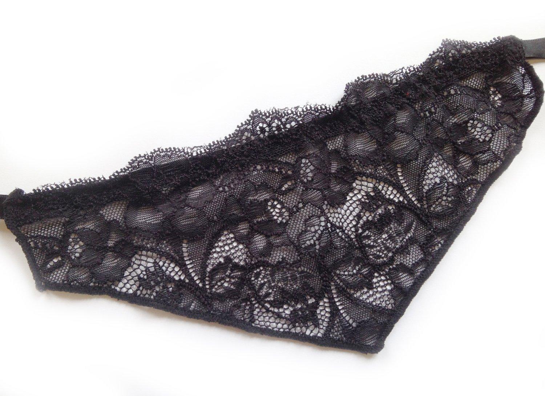 Lace Bra Insert - Modesty Panel - Decollete Cover Up - Floral - Black S/M, L/XL or XXL