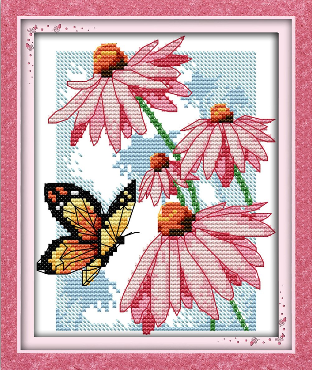 YEESAM ART New Cross Stitch Kits Advanced Patterns for Beginners Kids Adults - Butterflies Over Flowers 11 CT Stamped 21×25 cm - DIY Needlework Wedding Christmas Gifts