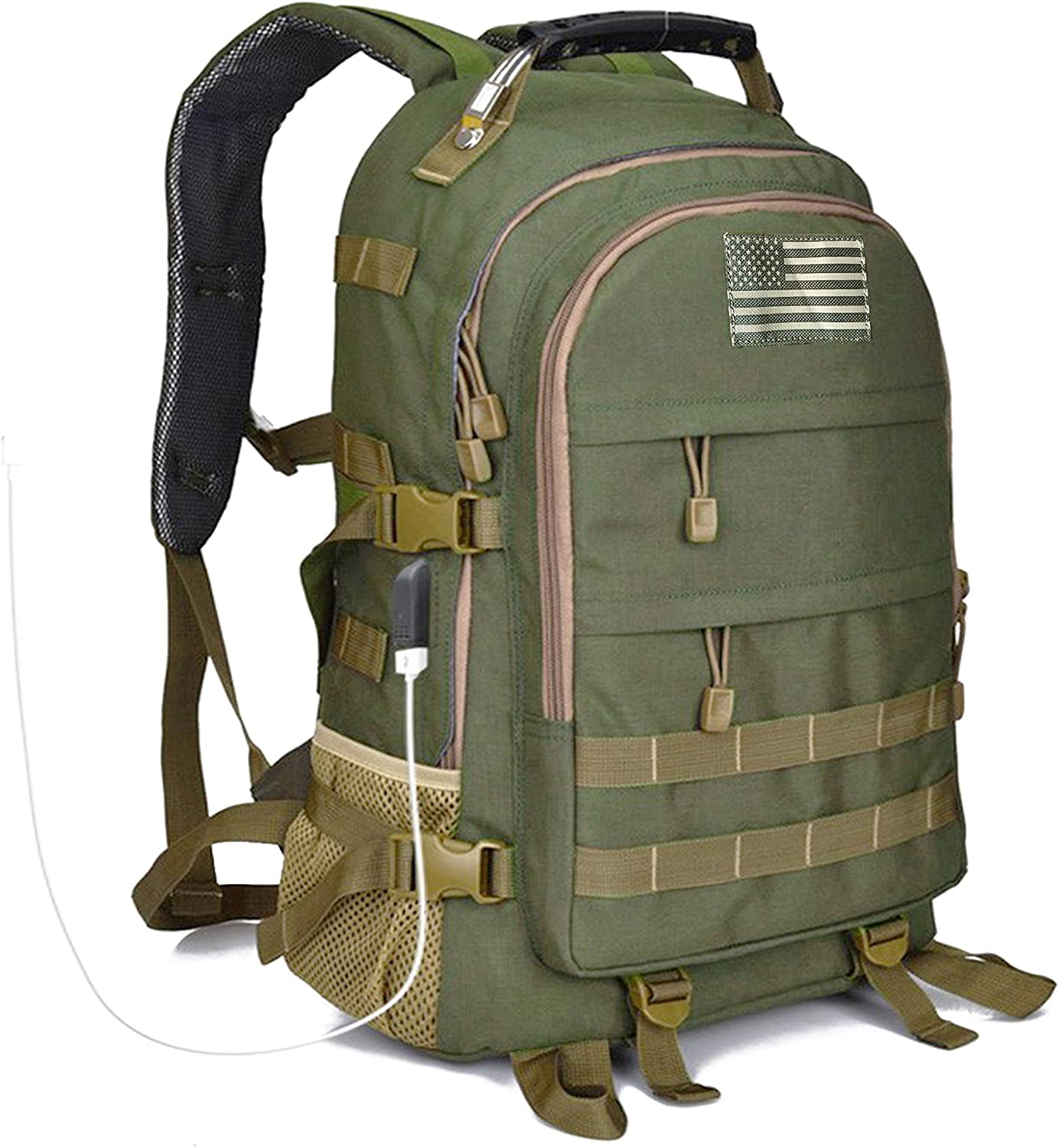 Military Army Tactical Hunting Backpack for Men, Outdoor molle bag Camo Hiking Rucksack, USB Charging Port