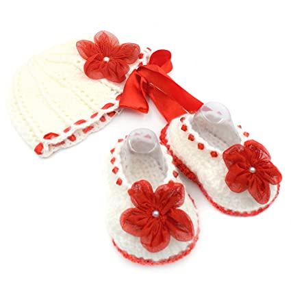 c8e20b0bb45 Magic Needles Handmade Knit Crochet Baby Booties and Cap Baby Gift Set for 3 -6