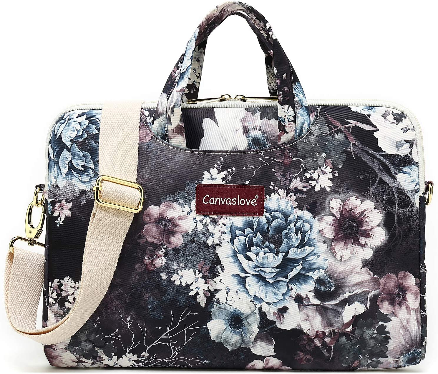 Canvaslove Small Chrysanthemum Water Resistant Laptop Shoulder Messenger Bag Case for MacBook Pro 16 inch,15 inch Surface Laptop 3,Surface Book 2 and 14 inch,15 Inch,15.6 Inch Laptop