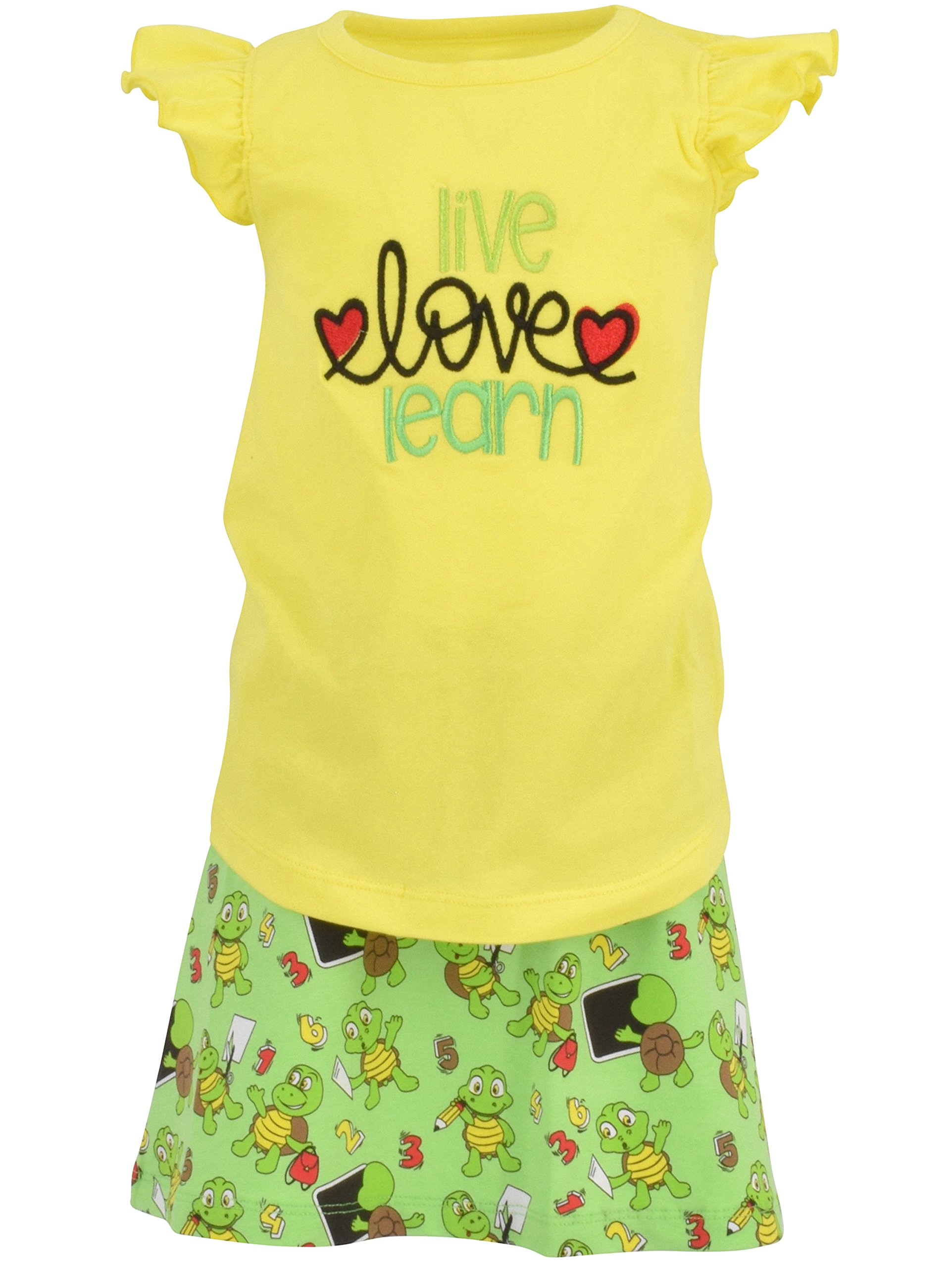Unique Baby Girls Live Love Learn 2 Piece Back to School Skirt Set (6)