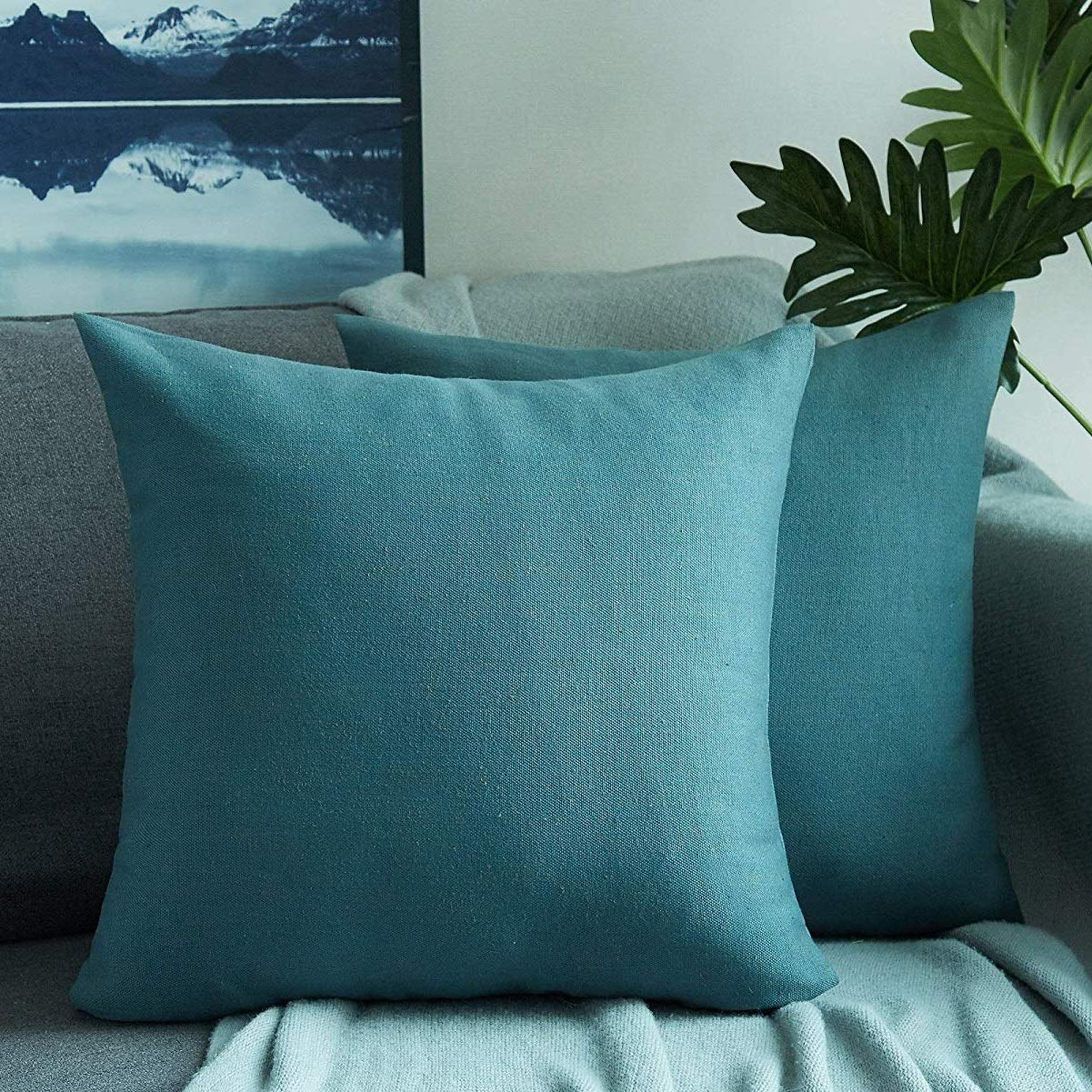 Foindtower Set of 2 Cotton Linen Square Decorative Throw Pillow Cover Cushion Case for Livingroom Couch Sofa Bed Home Decor Car 18 x 18 Inch 45 x 45 cm Straw Beige
