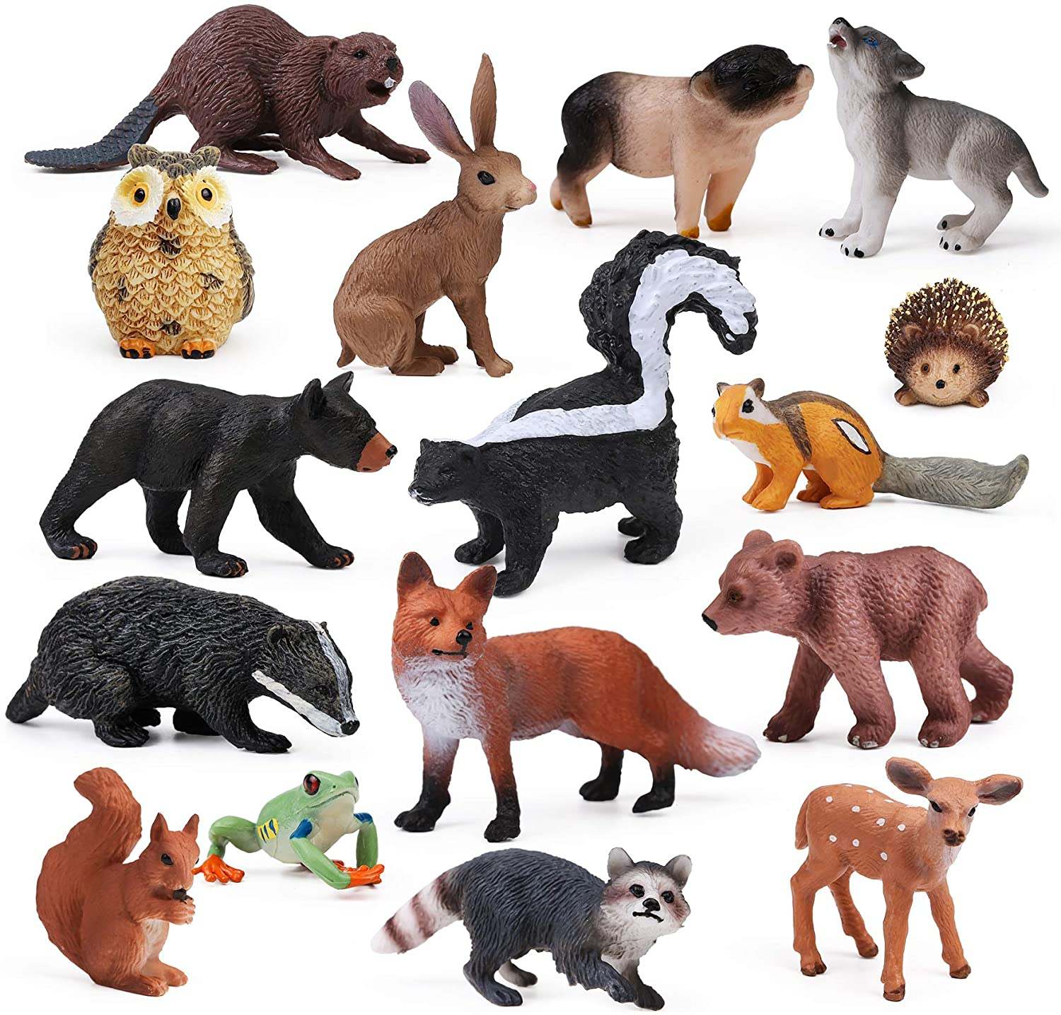 UANDME 16pcs Forest Animals Baby Figures, Woodland Creatures Figurines, Miniature Toys Cake Toppers Cupcake Toppers Birthday Gift for Kids